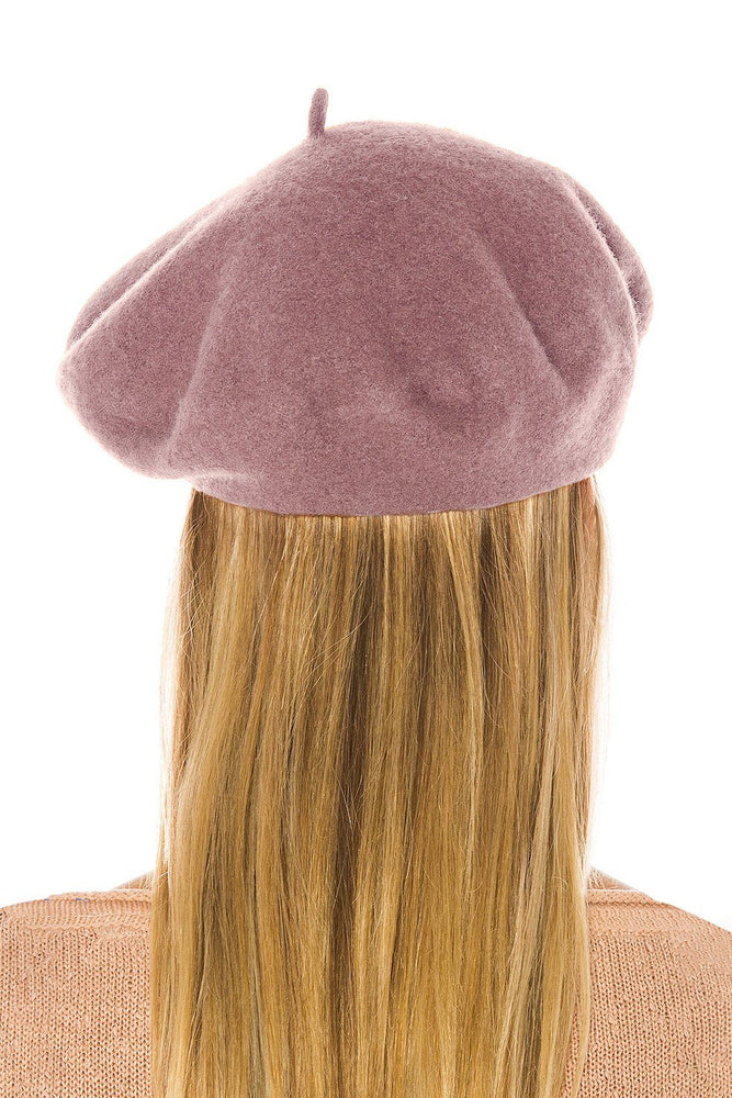 ACCESSORIES - Classic Wool Beret-Blush
