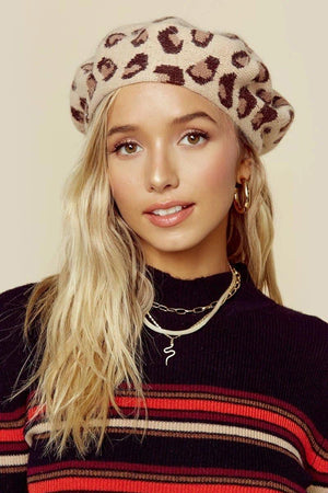 Load image into Gallery viewer, Leopard Beret-Natural