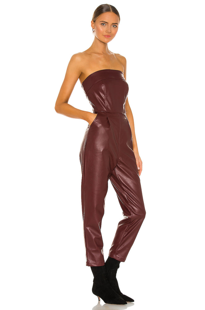 Red Vegan Leather Strapless Jumpsuit