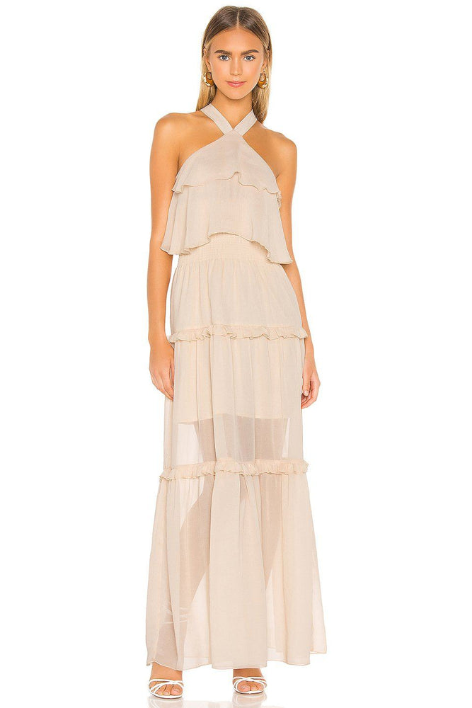 Ruffled Halter Maxi Dress