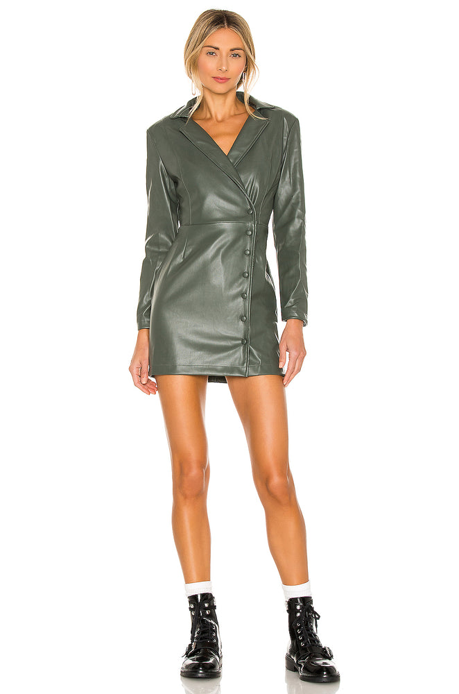 Vegan Leather Blazer Front Wrap Dress