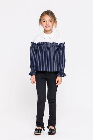 Shirred Long Sleeves Top With Combo Shirt (Kids)