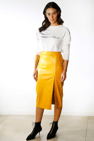 Vegan Leather Side Slit Pencil Skirt