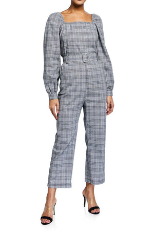 Plaid Balloon Sleeve Jumpsuit