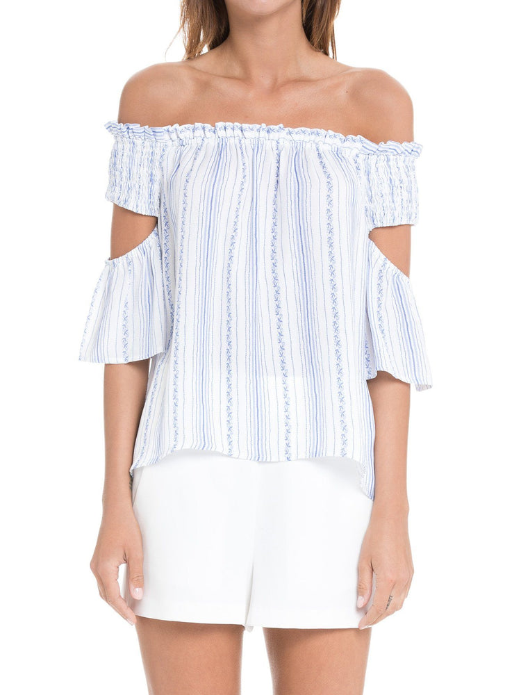 Load image into Gallery viewer, Smocked Flutter Sleeve Woven Top