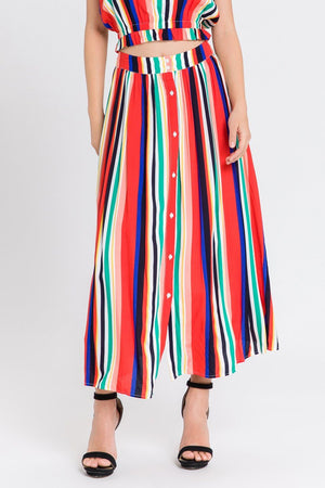 Load image into Gallery viewer, Rainbow Striped Midi Skirt