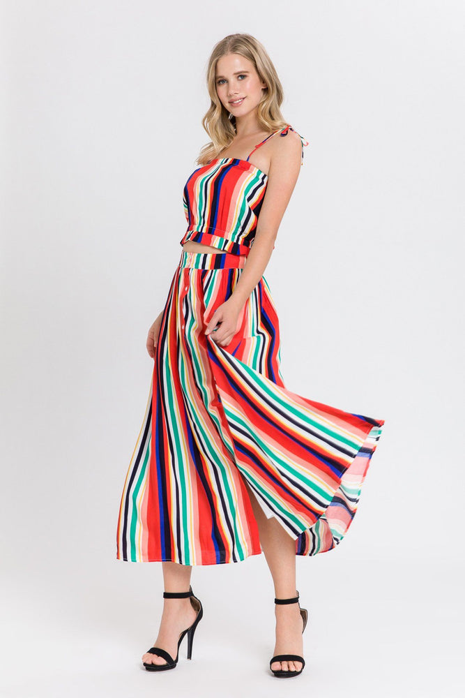 CLOTHING - Rainbow Striped Midi Skirt