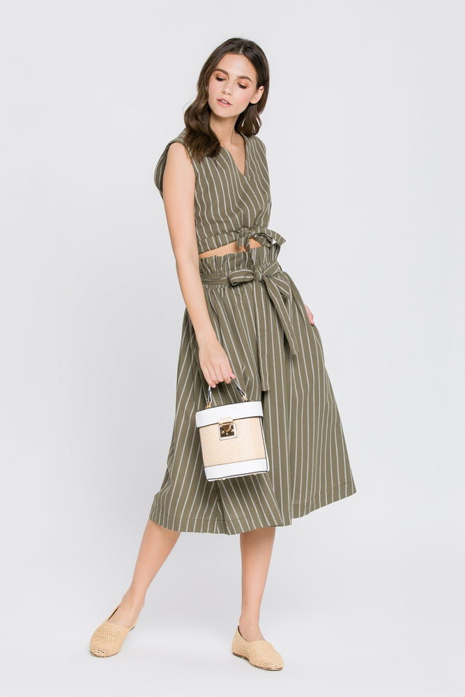Load image into Gallery viewer, Striped Skirt With Tie