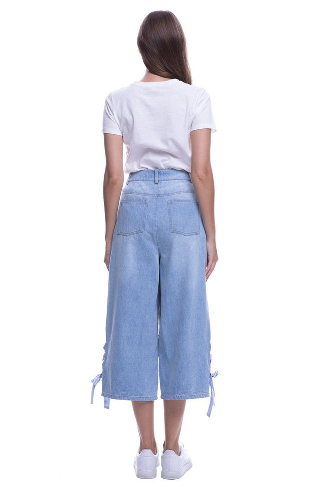 Load image into Gallery viewer, Regular Denim Pants With Tie