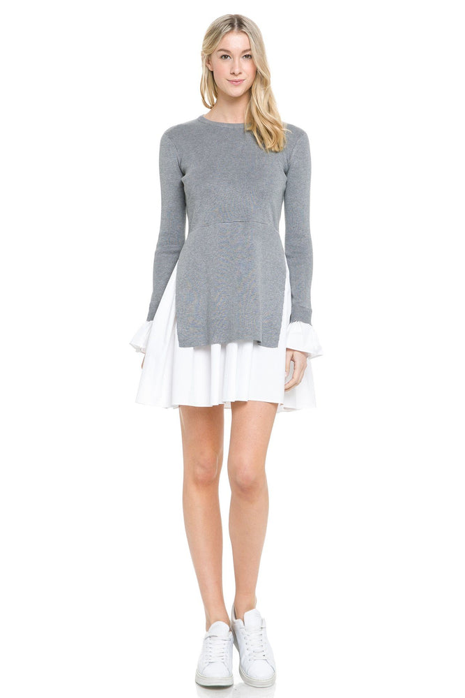 Long Sleeve Poplin Combo knit Dress