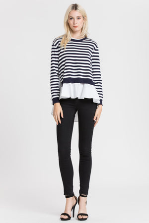 Woven Top With Back Slit Sweater Combo