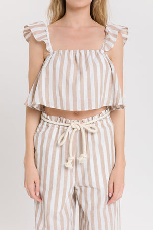 Frill Detail Striped Top