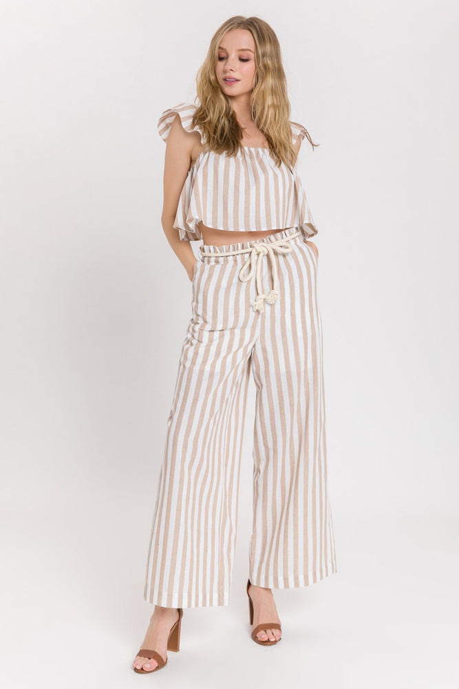 Load image into Gallery viewer, Striped Wide Leg Pants