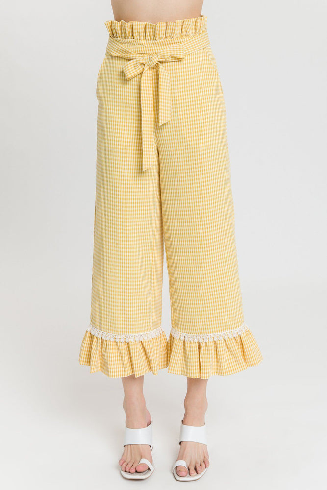 Gingham Culotte With Tie
