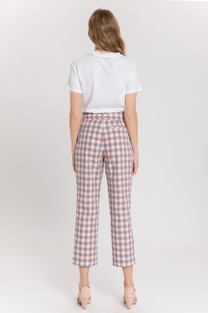 Gingham Check Trouser With Belt