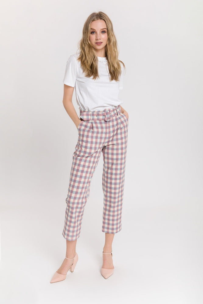 CLOTHING - Gingham Check Trouser With Belt