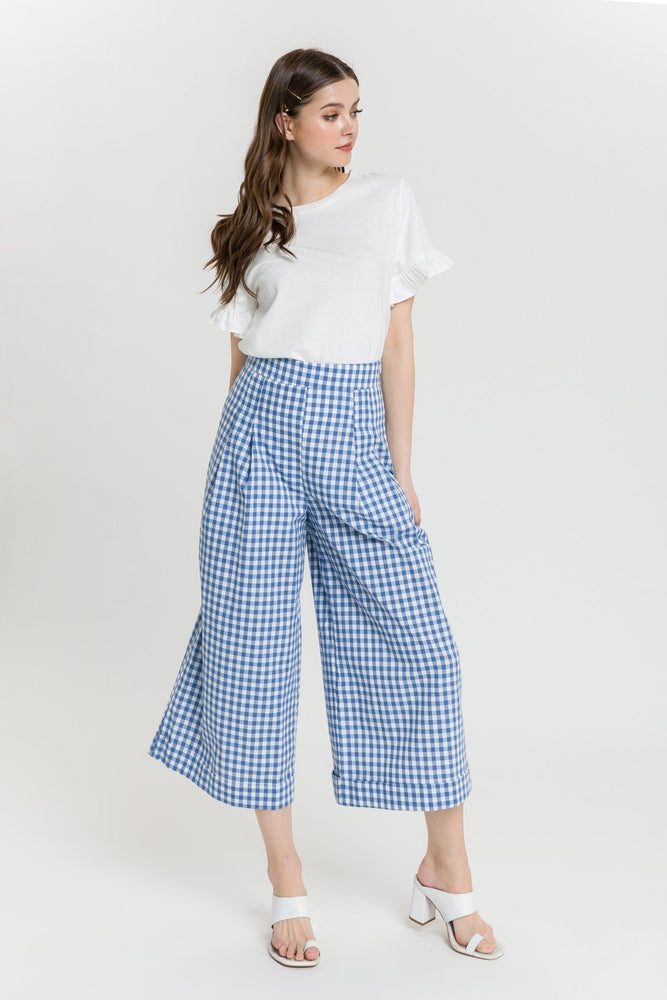 CLOTHING - Gingham Pleated Cullotes