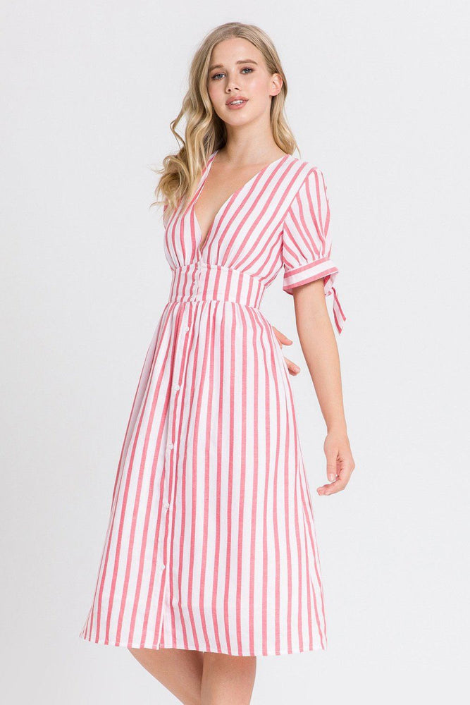Striped Midi Dress With Tie