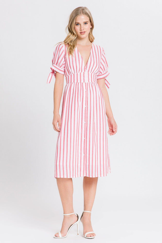 CLOTHING - Striped Midi Dress With Tie