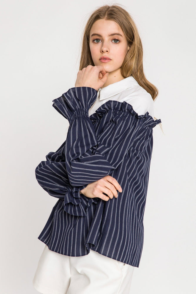 Shirred Long Sleeves Top With Combo Shirt