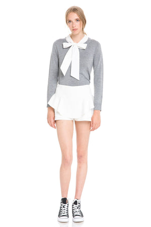 Knit Top With Ribbon Tie