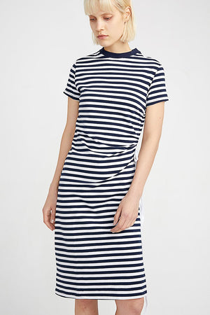 Striped T-Shirt Dress With Round Collar And Frill Sleeves