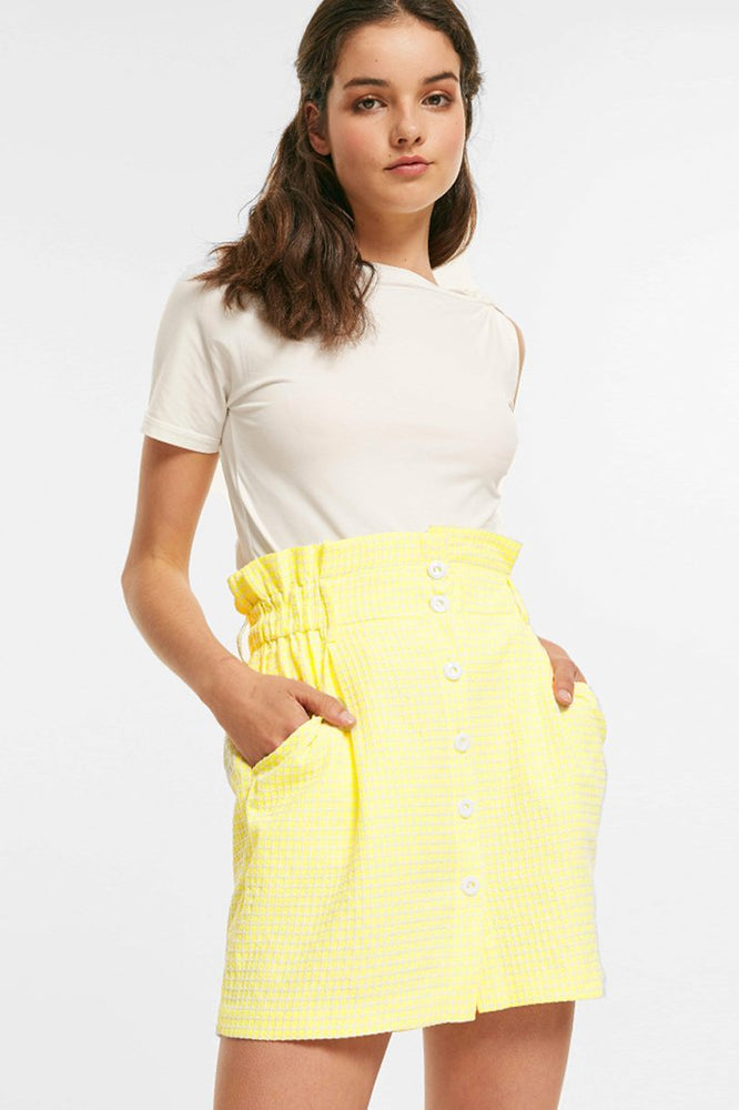 Lemon Plaid Skirt