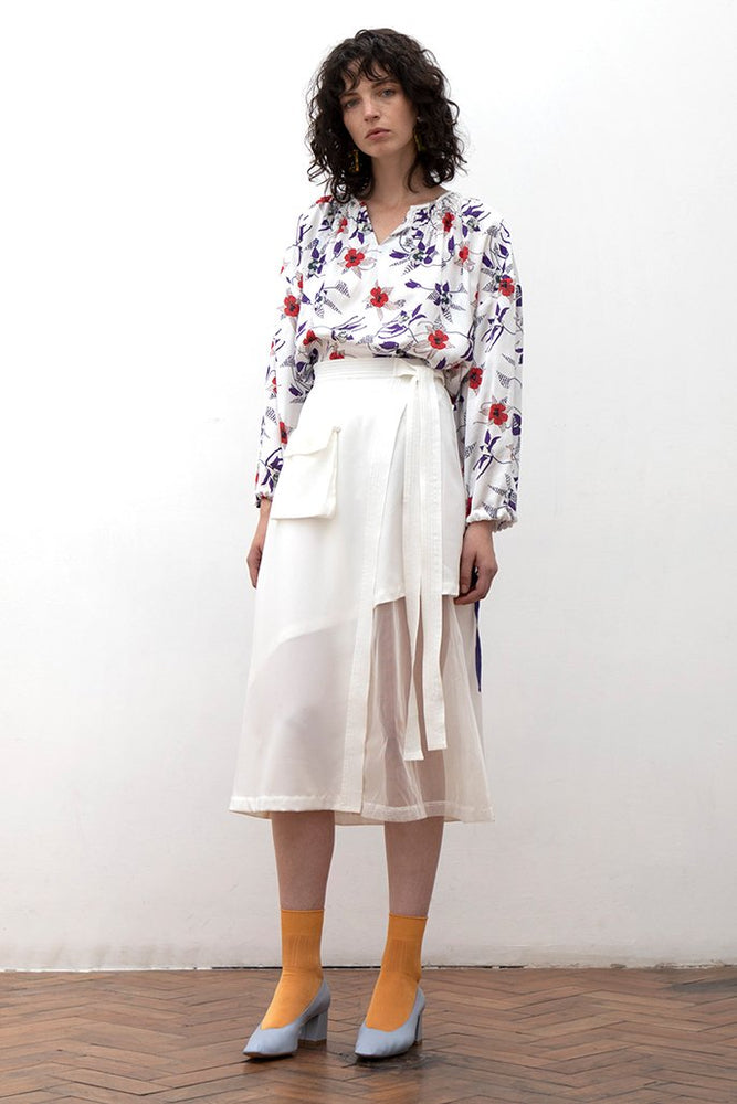 Load image into Gallery viewer, Aani White Asymmetry Sheer Midi Skirt