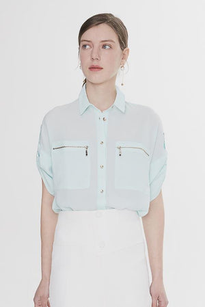 Load image into Gallery viewer, Light Green Zip-Pocket Blouse