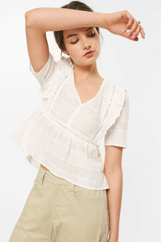 White Eyelet Ruffled V-Neck Top