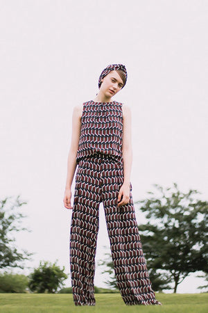 Load image into Gallery viewer, Geometric Print Palazzo Trousers