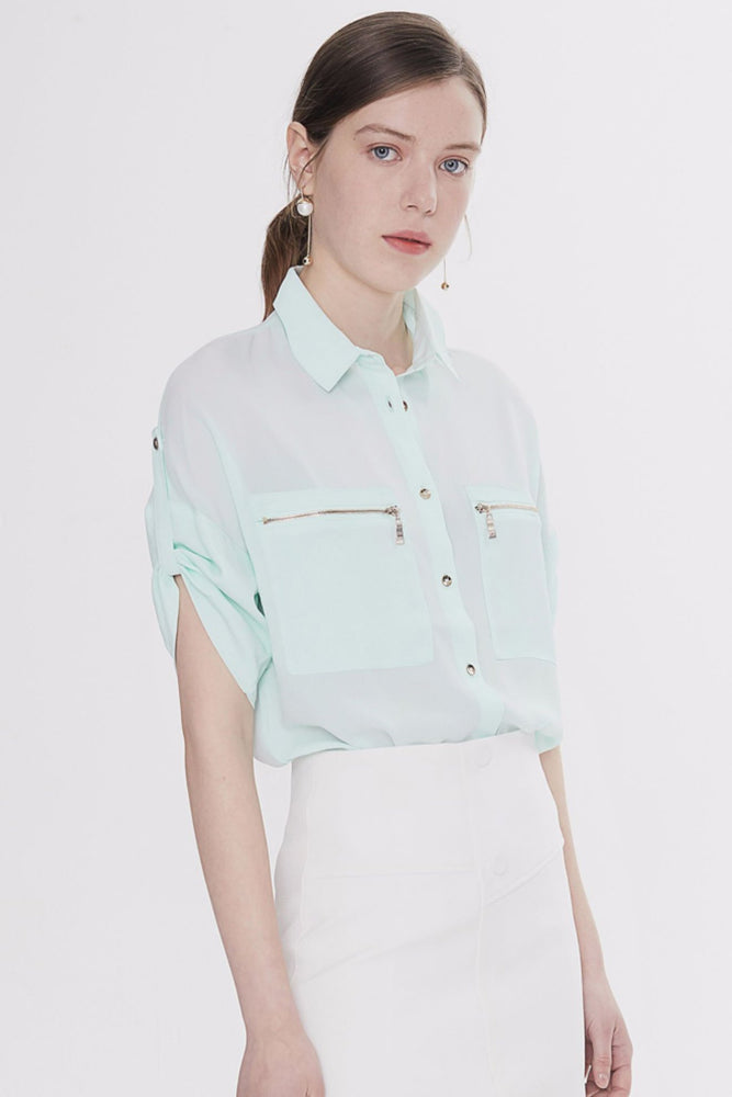 Light Green Zip-Pocket Blouse