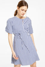Short-Sleeve Mini Dress in Gingham Check