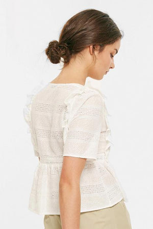 Load image into Gallery viewer, White Eyelet Ruffled V-Neck Top