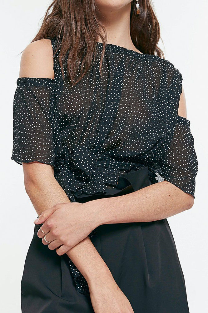 Load image into Gallery viewer, Polka Dot Off Shoulder Ruffle Chiffon Blouse