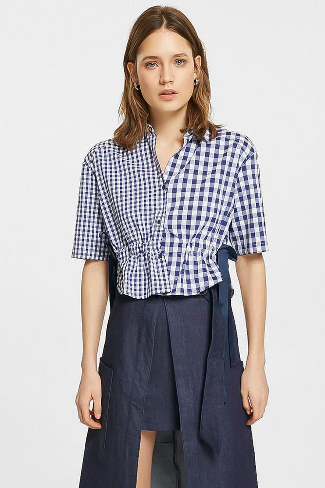 Navy Checked Blouse