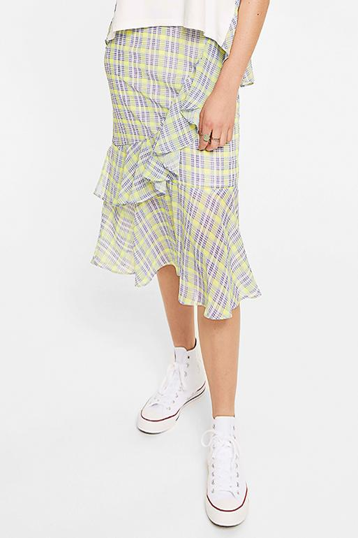 Layered Checked Asymmetric Midi Skirt