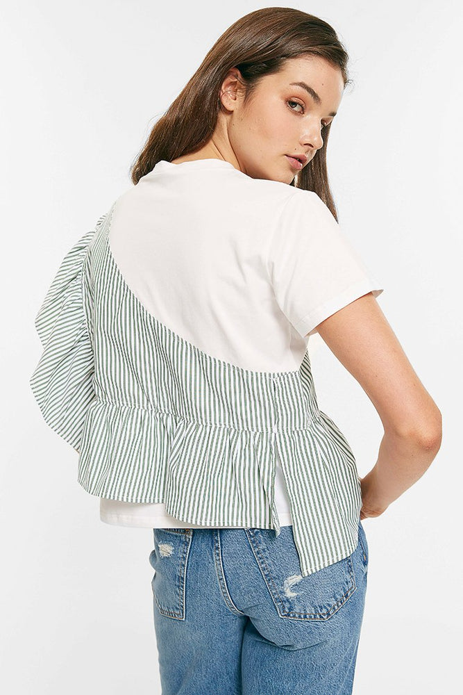 Ruffle Striped Top