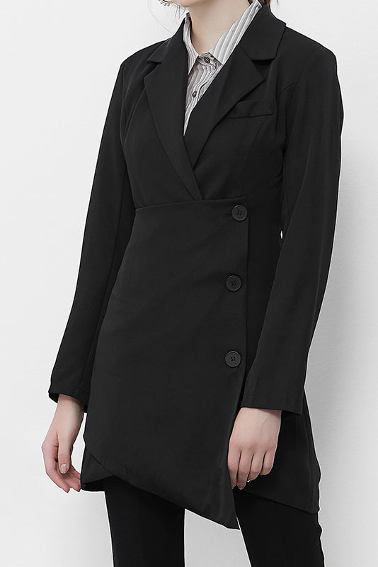 Black Assymetrical Double-Breasted Blazer