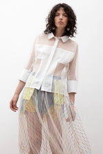 Nettled Blouse With Fabric Panels