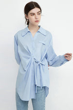 Assymetrical Long Shirt With Front Tie