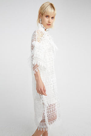 Load image into Gallery viewer, White Dress With Lace