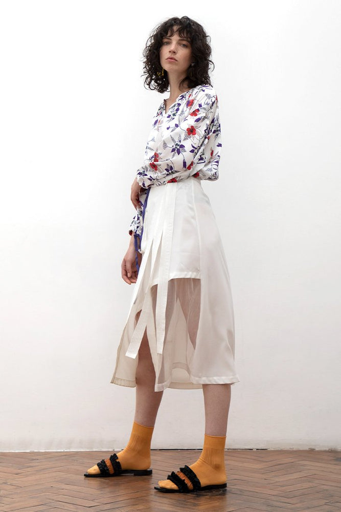 Aani White Asymmetry Sheer Midi Skirt