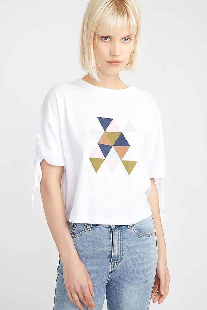 Short Sleeve Cotton Top with Geometric Prints