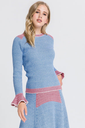 Two-Tone Knit Sweater