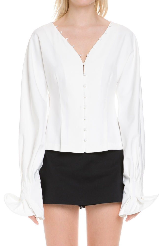 CLOTHING - BUTTON DOWN V-NECK SHIRT