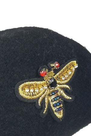 Wool Beret With Bug Stone Patch