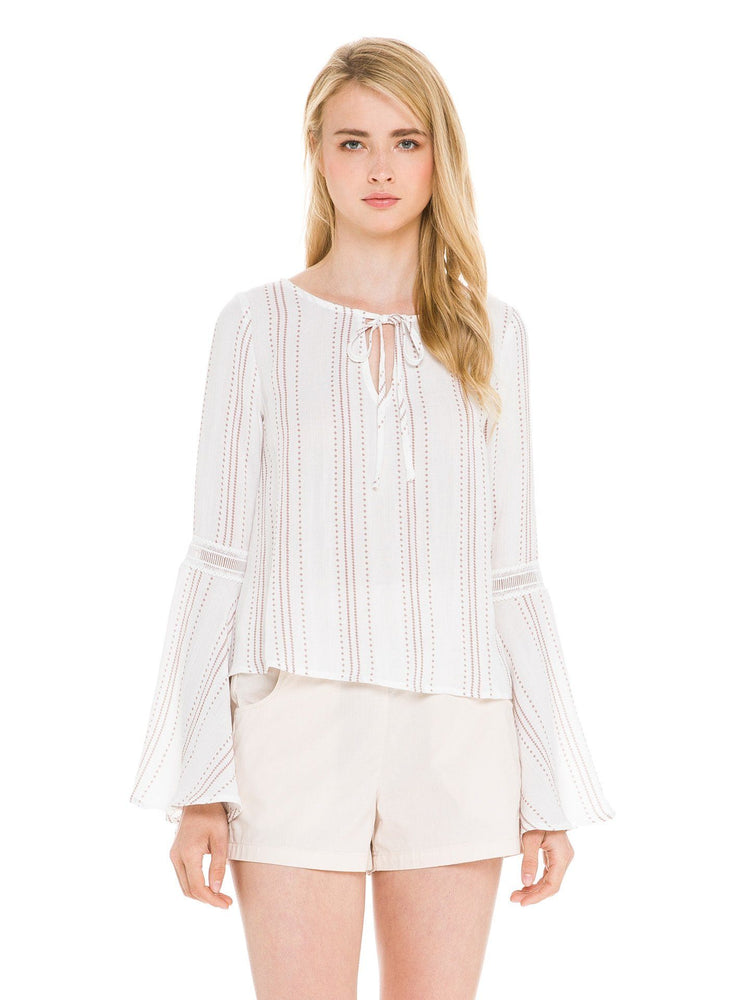 Woven Split Neckline Bell Sleeve Top With Trim Detail