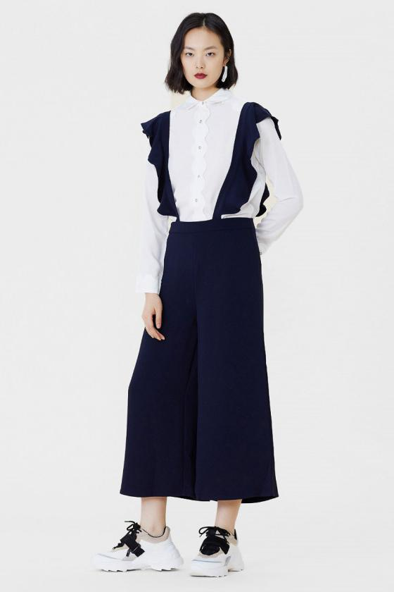 Navy Wide Leg Culottes Trousers With Ruffle Suspenders