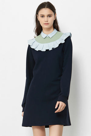 Load image into Gallery viewer, Navy Jersey Midi Dress